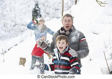 家族, 雪が多い, 若い, 戦い, 雪玉, 持つこと, 風景