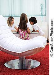 家族, 革, 現代, 背景, 椅子, 白, 家, 家具