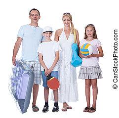 家族, 2, 休暇, 準備ができた, 子供, 幸せ