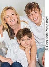 家族, 2, 息子, 母, 子供, 幸せ