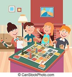 家族, game., 板, 週末, 遊び, 幸せ