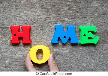 家族, o, ローン, 家, 家, 単語, 把握, 満たしなさい, 特性, 夢, ownership), 木, プラスチック, カラフルである, (concept, 抵当, 手, 背景, 幸せ, アルファベット