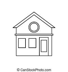 家族, pictogram, 家, デザイン, 住宅の, ファサド