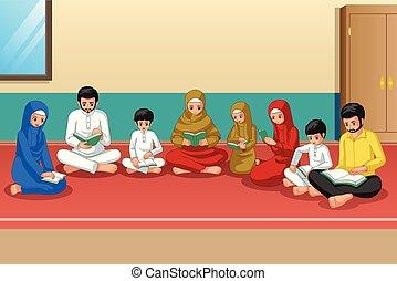家族, quran, 勉強, muslim, 家, 祈ること