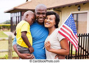 家族, usaフラグ, アメリカ人, 保有物, アフリカ