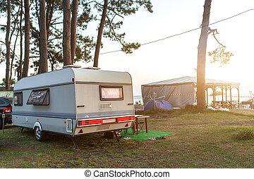 家族, vacation., キャラバン, motorhome, 休暇旅行, 自動車, 休日, 旅行