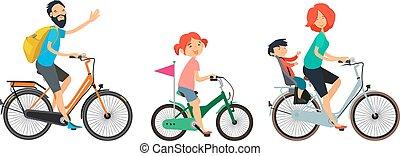 家族, walk., bicycles, 自転車, 女性, 乗馬, マレ