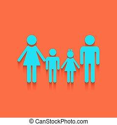 家族, whitish, 壁, 印。, バックグラウンド。, vector., れんが, アイコン