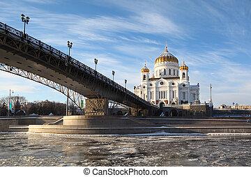 家父長制である, 橋, キリスト, モスクワ, 救助者, 大聖堂, ロシア, 冬