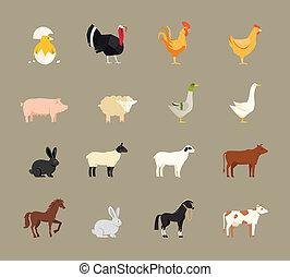 家畜, スタイル, セット, 平ら