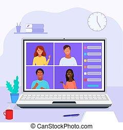 家研究, テレコンファレンス, ビデオ, オンラインで, 網, を経て, class., 会議
