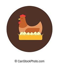 家禽, ベクトル, 巣, eggs., 平ら, 農場, めんどり, イラスト
