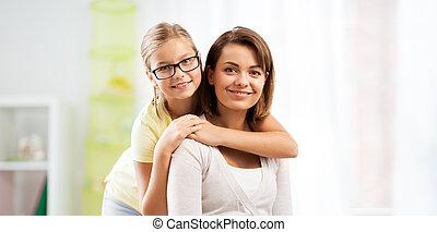 家肖像画, 幸せ, 娘, 母