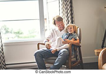 家肖像画, 幸せ, 父, 息子