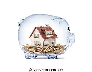 家, お金, 中, 切り抜き, 小豚, 透明, 道, 銀行