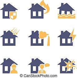 家, そして, 家, 保険, 危険, アイコン