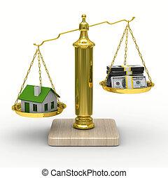 家, そして, ∥現金に引き換える∥, 上に, スケール。, 隔離された, 3d, イメージ