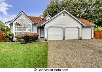 家, ∥で∥, 大きい, アーチ, 窓, そして, 3, 自動車, ガレージ