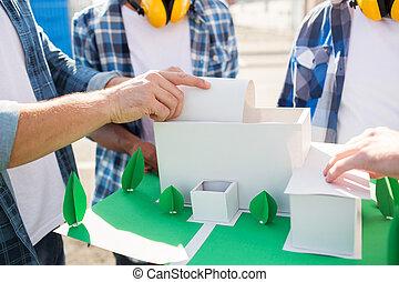 家, の上, ペーパー, 終わり, モデル, 建築者