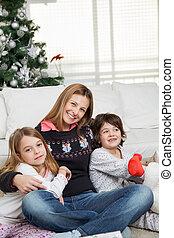 家, の間, 子供, クリスマス, 母