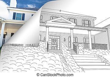 家, ひっくり返る, 図画, の後ろ, 写真のコーナー, ページ