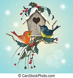 家, わずかしか, 冬, 鳥