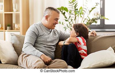 家, わずかしか, 幸せ, 父, 息子