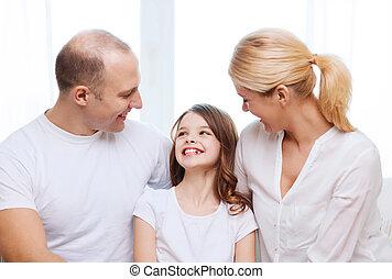 家, わずかしか, 親, 微笑の女の子