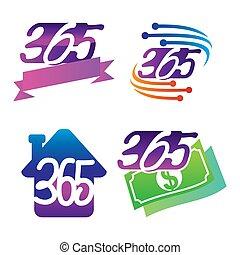 家, アイコン, お金, ロゴ, 無限点, イラスト, リボン, 365, 技術