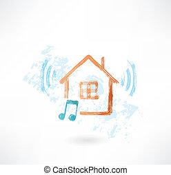 家, アイコン, グランジ, 音楽