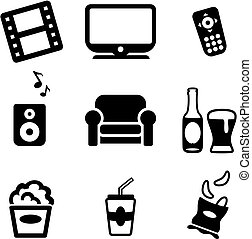 家, アイコン, 夜, 映画