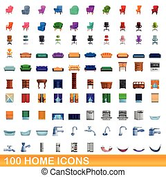 家, アイコン, 漫画, 100, スタイル, セット