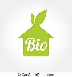 家, アイコン, bio, 緑