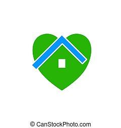 家, アイコン, eco, 緑, 心