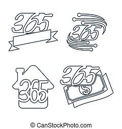 家, アウトライン, アイコン, お金, ロゴ, 無限点, リボン, 365, 技術