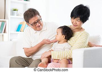 家, アジア 家族, 肖像画