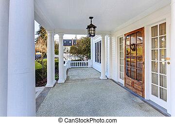 家, アメリカ人, ポーチ, 入口, 贅沢