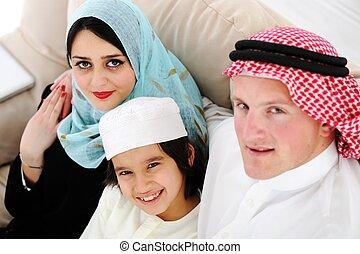家, アラビア, 家族, 幸せ