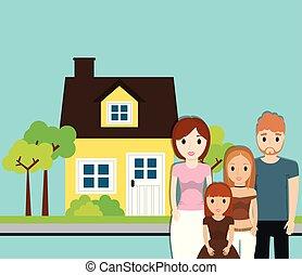 家, イメージ, 木, 庭, 家族