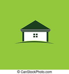 家, イメージ, 緑, ロゴ