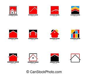 家, イラスト, セット, テンプレート, ロゴ, デザイン, 広場, ベクトル