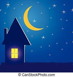 家, イラスト, 夜