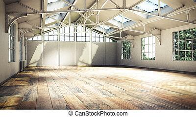 家, イラスト, 大きい, 窓, 内部, 白, 空, 3d