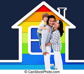 家, イラスト, 家族, 地位, 包含
