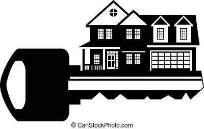 家, イラスト, 黒, キー, 新しい, 白