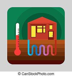 家, エネルギー, 熱, 背景, スタイル, 漫画, 概念