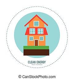 家, エネルギー, 緑, きれいにしなさい, 家
