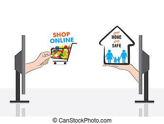 家, オンラインで, デザイン, 安全である, 店, 滞在, ポスター