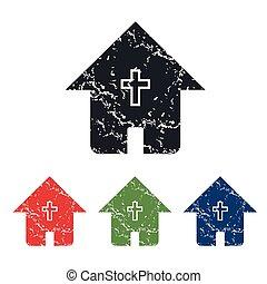 家, キリスト教徒, セット, グランジ, アイコン
