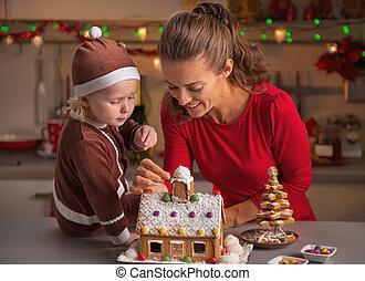 家, クッキー, 母, 赤ん坊, 飾り付ける, クリスマス, 幸せ
